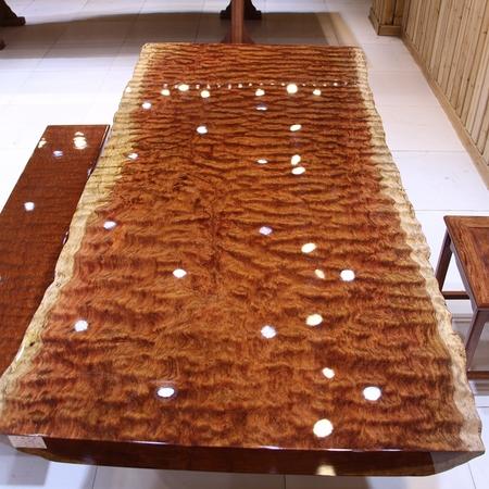 尺寸:213-99-9.5巴花大板现货实木原木红木办公会议餐桌茶桌茶台