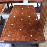 尺寸:180-83-8巴花大板现货实木原木办公会议餐桌茶桌茶台老板桌