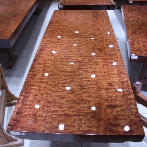 尺寸:258-96-10巴花大板现货实木原木办公会议餐桌茶桌